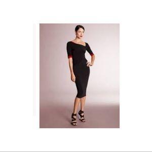 💯 Donna Karan Bi-color Black Red Ivory Dress